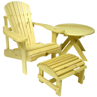 Set bestehend aus einem Bear Chair aus Zedernholz BC201C, einem Bear Chair Footstool BC01C und einem Folding Table BC02C