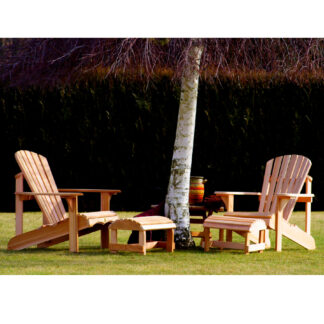 Set bestehend aus 2 Bear Chair aus Zedernholz BC201C mit 2 Bear Chair Footstool BC01C