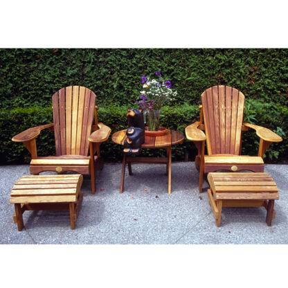 Set bestehend aus 2 Bear Chair aus Zedernholz BC201C mit 2 Bear Chair Footstool BC01C und einem Folding Table BC02C